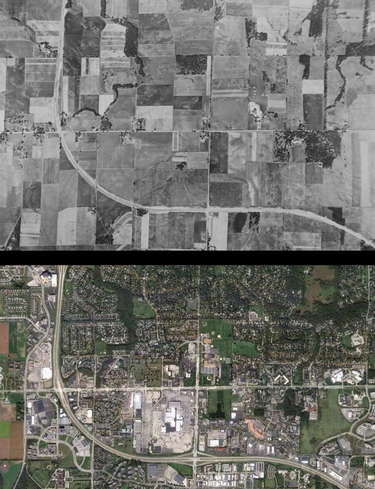 Beltline in SW Madison, 1949 & 2010
