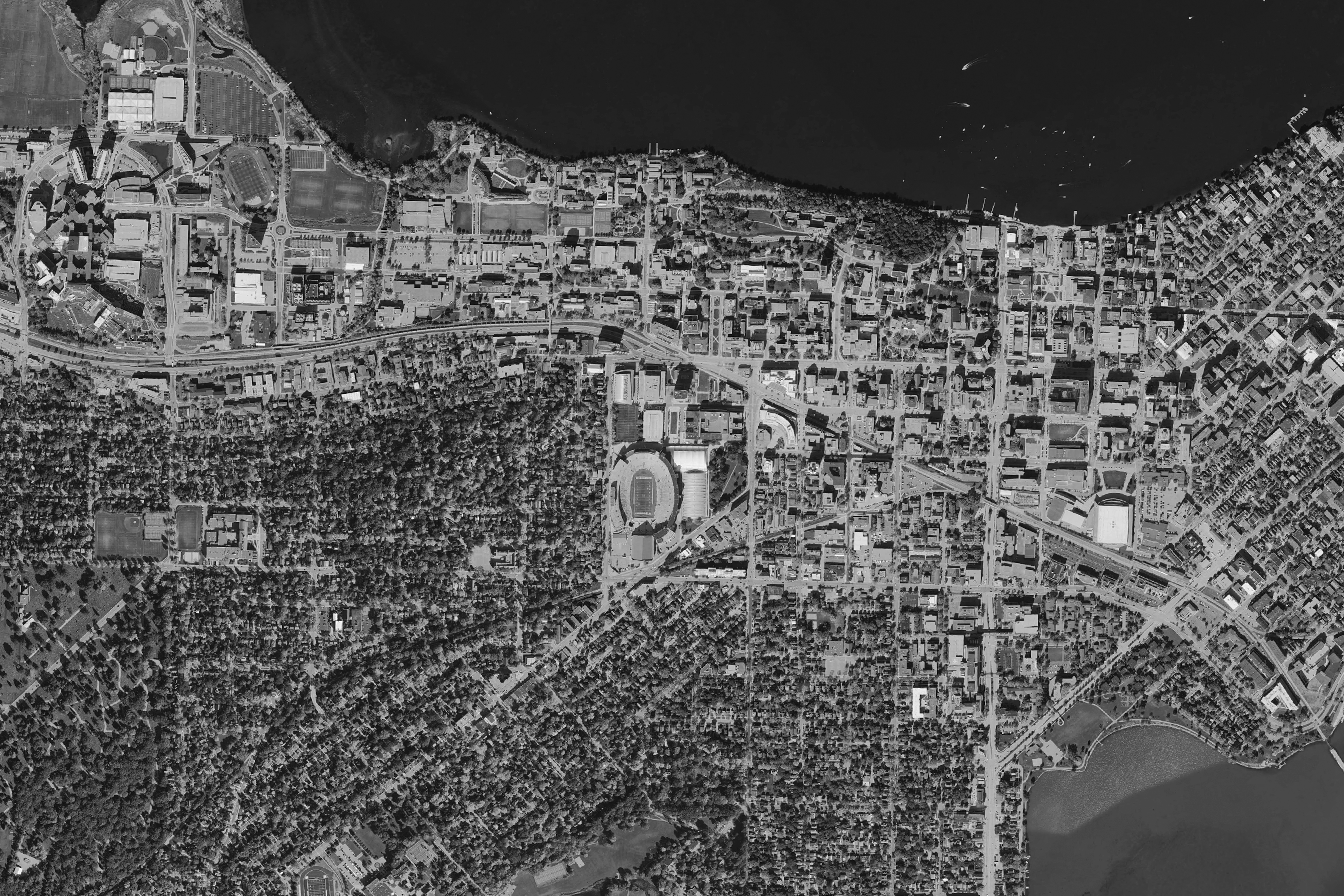 University Of Wisconsin Madison Aerial Photo 2015 Black White